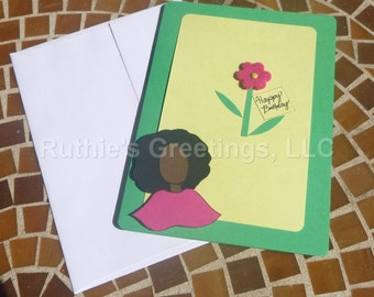 Afro Birthday - Custom Birthday Card for Mother, Aunt, Sister, Grandmother, Daughter
