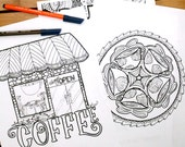 Adult Coloring Pages - 5 Printable Detailed Coffee Colouring Sheets for Grown-ups - Digital Download