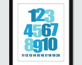 Modern Mixed Numbers 123 Wall Art - 8x10 Baby, Children, Nursery, Wall Print Poster