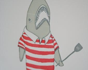 Letterpress BBQ Shark Limited Edition Print