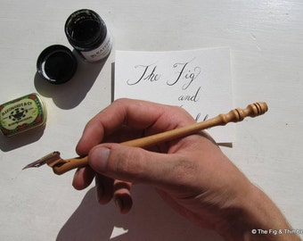 Oblique Calligraphy Pen Holder - Cherry Hand Turned Dip Pen With Zanerian Flange
