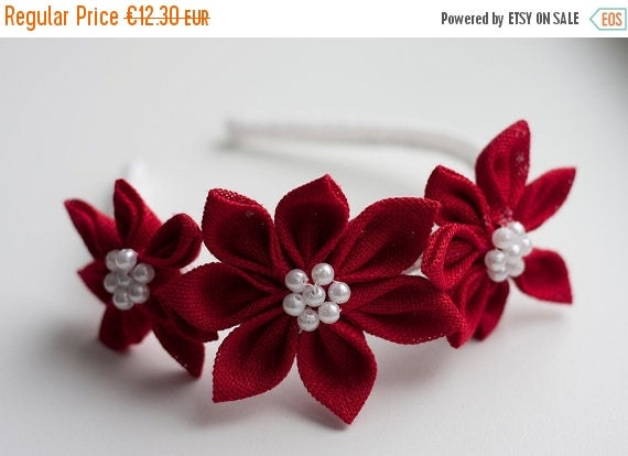 SALE Girl red headband -  Red Girl Kanzashi Flower headband - red headband - toddler headband