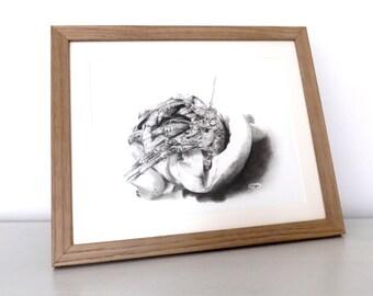 Hermit crab charcoal drawing, original artwork, pencil drawing, wildife art, crab drawing, crab art, seashore art, rock pool, monochrome