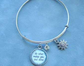 Expandable Wire Bracelet, Inspirational Bangle, Shine Bracelet