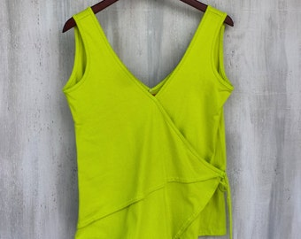 Organic Cotton Double Wrap V-neck Tank Top in Electric Lime Neon