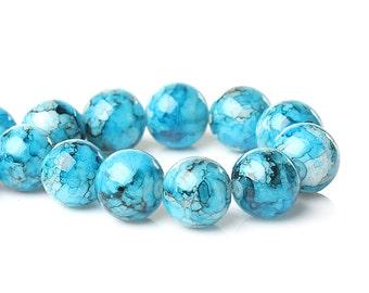 20 Glass Beads 14mm Mottled Sky Blue - BD842