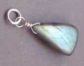 Huge Labradorite Pendant, Sterling Silver Wire Wrapped Pendant, Labradorite Necklace Charm, Interchangeable Pendant Jewelry, Stone 186