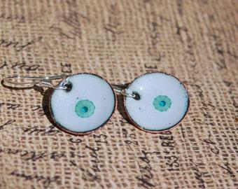Murrini Flowers on Blue Enamel on Copper Circle Earrings...item no. 570a