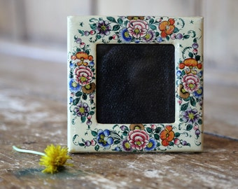 Vintage Floral Picture Frame / Mid Century / Made in India