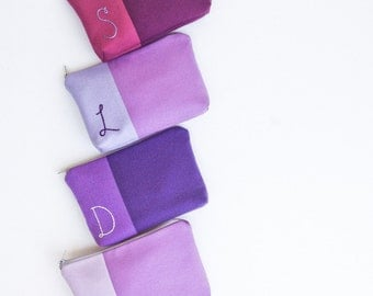 Monogram Cosmetic Bag Set, Personalized Bridesmaid Gift Bag, Custom Initial Bag, Purple Wedding Party Makeup Bag MADE TO ORDER