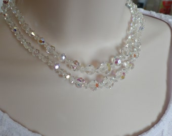 Crystal Bead Bridal Necklace,  AB Crystal Necklace,