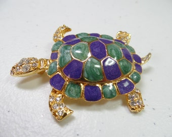 Swanky Blue, Green, Rhinestone Turtle Brooch, animal brooch