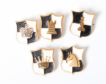 Set of 5 vintage pins, Chess. Badges from USSR.