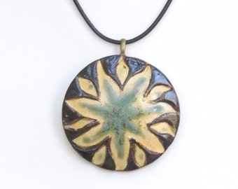 Sunflower Ceramic Pendant Large Round Clay Pendant Black Green Tan Pottery Necklace Rustic Contemporary Wearable Art Choker