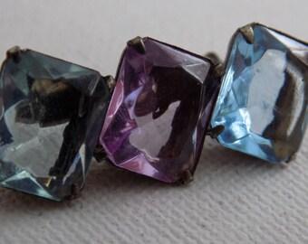 Vintage brooch, antique brooch, 3 crystal brooch, Victorian brooch,blue topaz,amethyst,and aquamarine crystal brooch