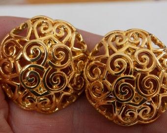 Vintage earrings, Trifari earrings, 1970s earrings, signed earrings, clip-on earrings, heart earrings