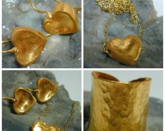 SALE Heart hammer earrings ,Drop gold heart earrings ,Heart boho earrings
