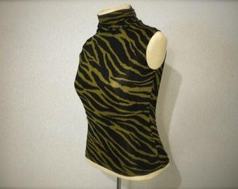 Vintage Mock Sleeveless Zebra Turtleneck