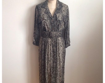 Vintage 1980s animal print safari dress