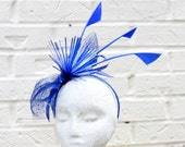 Royal Blue Firecracker Fascinator, Great Fashion Hat for Church, Derby, or Mother's Day