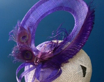 "Royal Purple Fashion Hat:  ""Trapeze"" Hat for Church, New Years Eve, or Christmas Parties"