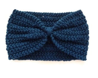 Womens Blue Headband, Knit Headband, Turban Headband, Winter Earwarmer