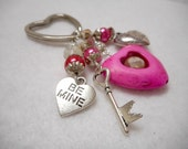 Heart Key Chain, Valentine Key Chain, Beaded Key Chain, Pink Key Chain, Handmade Key Chain with Red Velvet Pouch, Gifts for Her