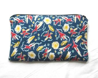 Retro Spacemen and Rockets Fabric Zipper Pouch / Pencil Case / Make Up Bag / Clutch