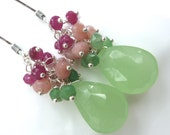 Spring Colors. Mint Green Chalcedony, Bright Green Chyroprase, Pink Peruvian Opal, Genuine Ruby Earrings. Silver.Fresh. Ready to ship.