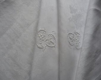 FRENCH LINEN DAMASK Tablecloth white tablecloth