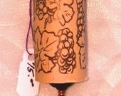 Wine Cork Keychain with Hand Beaded Purple Crystal Grapes