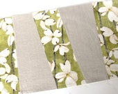 Table Runner -- Wonky Stripes -- White Flowers on Green With Natural Linen -- Ready to Ship