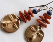 Tribal Mask Earrings, Bronze Art Bead, Metal Clay, Amber Nuggets, Lapis Lazuli and Hypoallergenic Wire Earrings