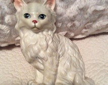 AUTUMN SALE Vintage Lefton Blue Eyed White Kitten Figurine Persian Siamese Cat made in Japan in 1960s H1514