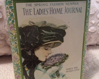 20% SALE Vintage LADIES HOME Journal Tin Container Canister 1912 Advertising Cream Aqua Green