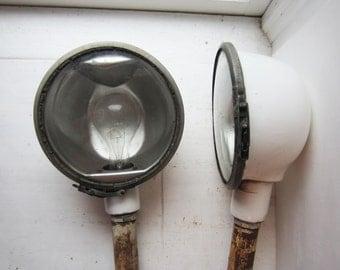 Pair Vintage Industrial Sign Lights - White Porcelain Enamel Spot Light Set