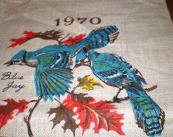 Vintage 1970 Linen Kitchen Calendar Towel - Native Birds