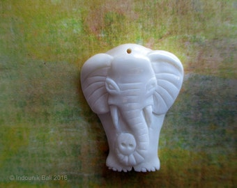 Little Ellie Elephant Carved Bone Pendant Bead 30mm