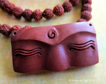 Buddha Eyes Carved Sawo Wood Drilled Cabochon 40mm for Vegan Jewelry