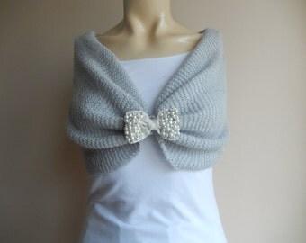 Light Gray Bridal Capelet / Wedding Wrap Shrug Bolero/Hand Knit  Mohair Shawl/ Scarf with Rhinestone Bow