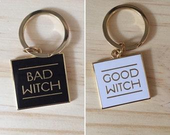 Keychain - Good Witch Bad Witch DOUBLE-SIDED Hard Enamel Keychain