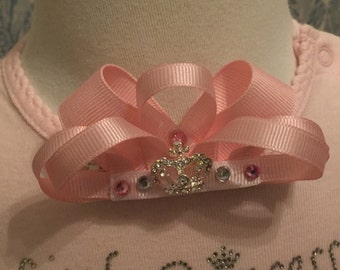 Crown Hair Bow-Princess Bow-Tiara Bow