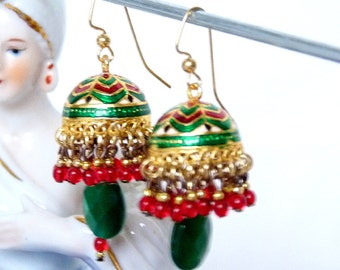 SALE!! Green & Red Minakari Jhumkas SALE!!