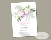 Boho Unicorn Invitation | Mystical Unicorn, Pink and Purple Flowers, Baby Shower or Birthday Party, Watercolor, Instant Download