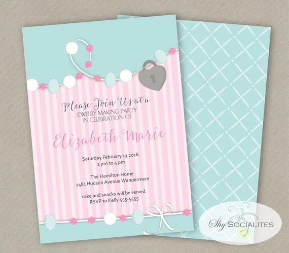jewelry making party invitation jewelry party beading, Party invitations