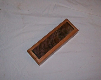 Pencil Box Cherry inlayed top Handmade Wooden Box, Desk box ,Jewelry Box, Stach Box ,Trinket Box, Small Wooden Box Keepsake Box