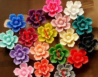 180pcs Beautiful Mix Colorful Rose Flower Resin Cabochon -12colors -20mm(CAB-AE-MIXSS)