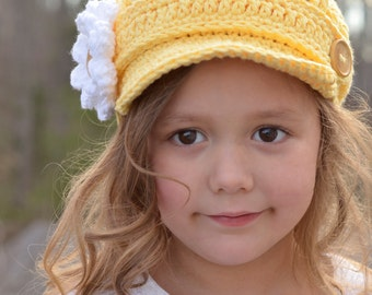 Yellow Crochet Hat for Girls, Little Girl Newsboy Hat, Crochet Newsboy Hat for Girls, Crochet Newsgirl Hat, Hat for Toddler Girls