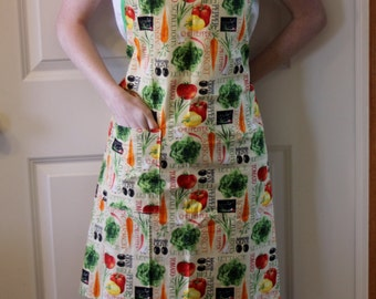 Womens Full Apron in Vegetable Fabric - Butcher Apron, Adult Apron, Womans Apron, Kitchen Apron, Simple Apron