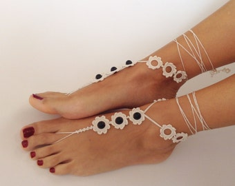 ivory, Barefoot Sandals, Black onix gemstone, bead, barefoot sandles, wedding, Bridal Sandals, Bridal Jewelry, shoes, Beach, READY TO SHIP
